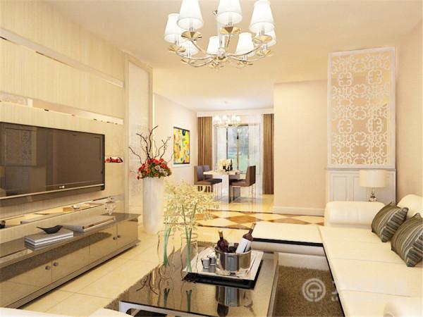 客厅以黄色调为主,电视背景墙采用木材和金属条结合,两侧采用花纹玻璃