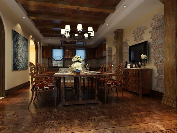 龙湖好望山 573平米 美式风格 尚层装饰 餐厅装修效果图