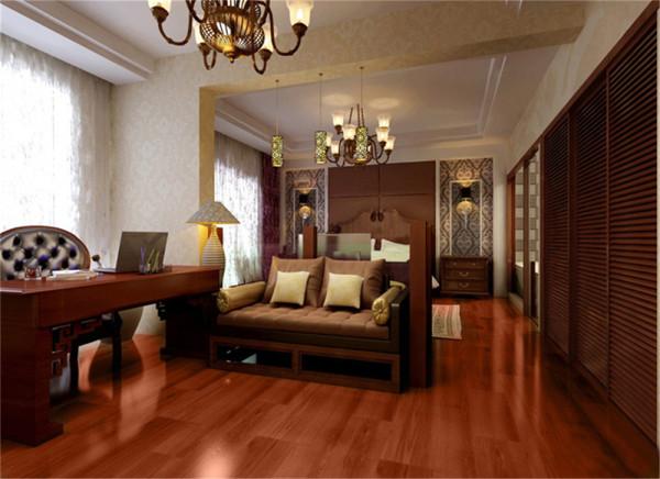 设计理念:贯通之后的卧室与书房,呈现一种融合后的统一和谐,高贵的床头背景,古朴而大方的书桌,沉稳的沙发,无处不透露出一家之主的突出地位。