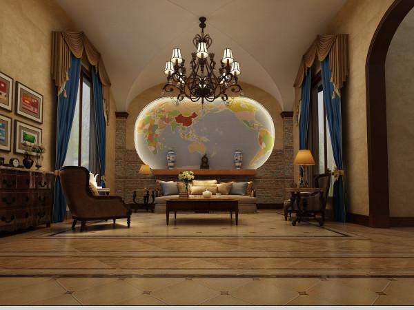 龙湖好望山 573平米 美式风格 尚层装饰 客厅装修效果图