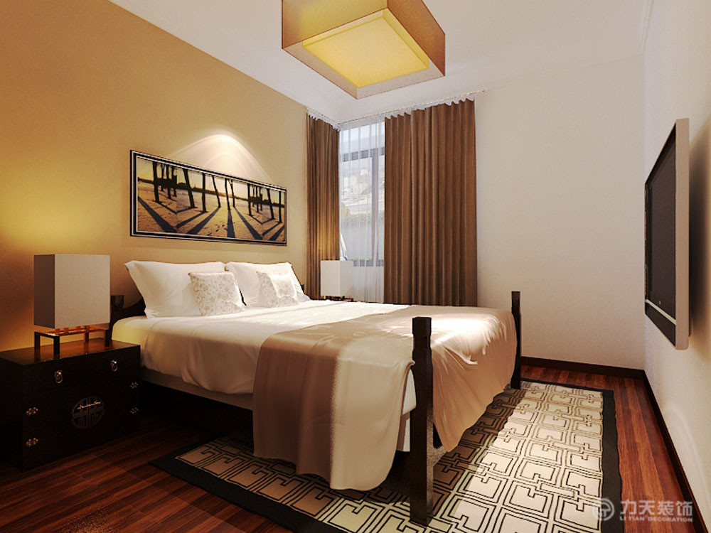 小卧室的床头背景墙是有一个中式的造型,实木木线条包边,内镶嵌软包图片