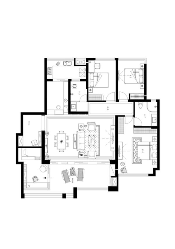 雅居乐平面家具布置图