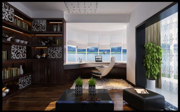 设计理念:深褐色的书架显出一份严肃沉稳的视觉感。温暖的阳光透过玻璃窗洒到书桌上,淡淡的书香味弥漫着整个书房。 亮点:灵动的书房带给你无限的灵感