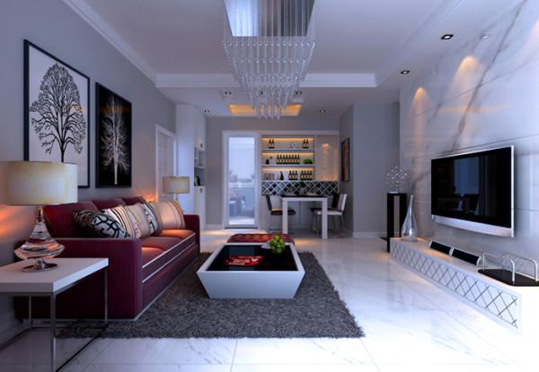 客厅装修效果图,干挂大理石背景墙。