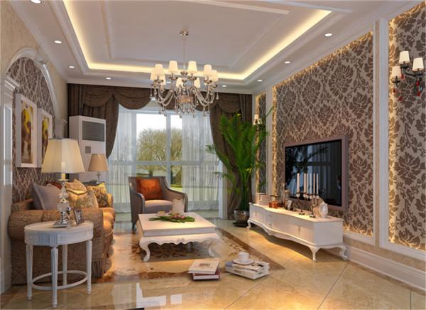 亮点:典雅的造型的地砖拼花与高贵的壁纸纹路交相呼应,流线型的家具与线条优美的石膏线相互搭配,在配上富有厚重感的吊顶使整个客厅呈现出一种典雅高贵的气质。