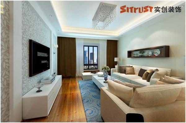 客厅整体定位米咖色色调,白色的料理餐桌餐椅,大气与浑厚的感觉,局部的吊顶与电视墙的结合,加大了层次感。卧室—整面木地板上墙的设计,给客户提供了一个静谧的睡眠环境,静谧而安全