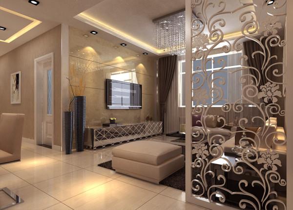整个空间选用浅色调,大理石电视背景、灰黑色的沙发窗帘配饰等,增添了空间的品质感;镂空雕花起到了装饰跟餐客厅分离的作用。