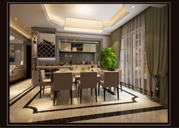客餐厅设计采用整体白灰色调为主,以大理石、亚克力板条线、白色乳胶漆与灰色护墙板做主要墙面装饰。