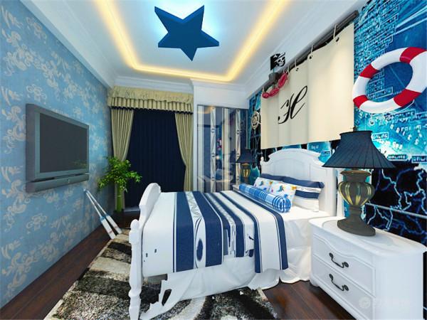 卧室的设计没有延续客厅的大面大线条的手法,而是采用块面结合的方法,运用颜色的跳跃和鲜明的色彩关系,突出风格。