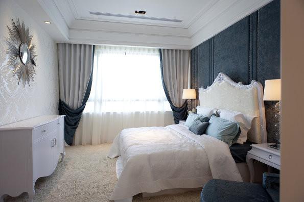 卧室装修效果图,蓝色背景墙,白蓝窗帘,低调的奢华。