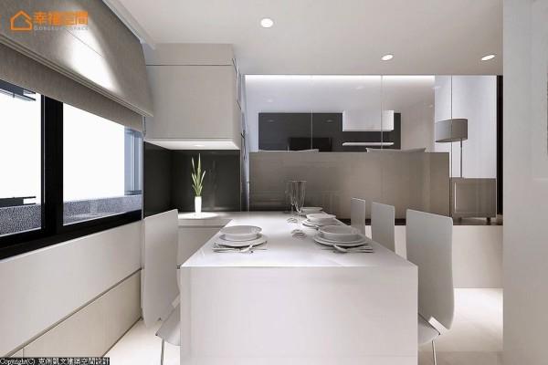 将餐桌桌面一路连结至左侧柜体,创造出开放弹性的L型吧台用途。 (此为3D合成示意图)