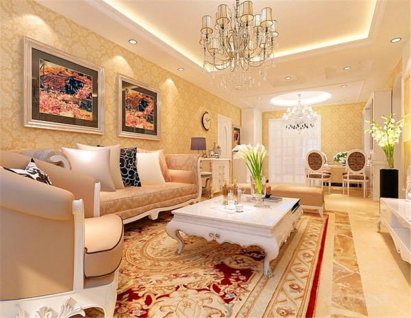 客厅采用回形吊顶加石膏线电视背景墙采用石膏板造型和壁纸结合,拱形门洞包口,过道用小吊顶造型,增添空间造型丰富感