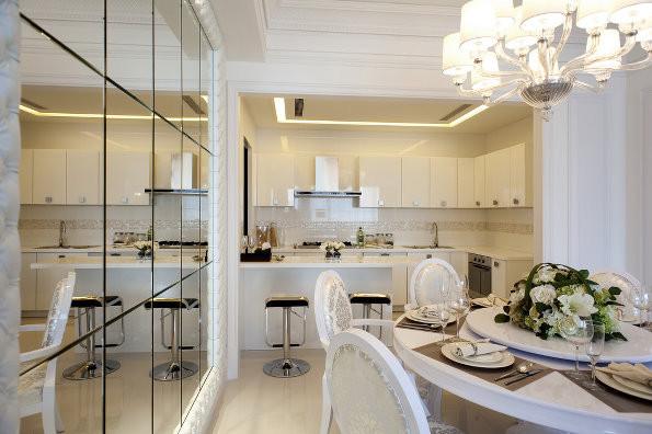 开放式厨房,吧台设计,有种欧式的奢华感。