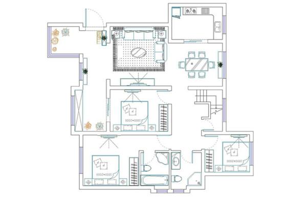 民安北郡171平方四室两厅户型图