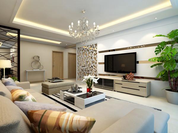 客厅是主任品味的象征,体现了主人品格,地位,也是交友娱乐的场合,电视背景墙采用几何造型,既简单又大方