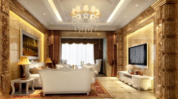 置地广场-124平米-简欧风格-客厅装修效果图