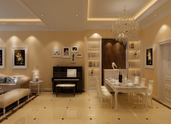 餐厅设计理念:整体以浅色为主,简约而又有华丽气质。协调的搭配了咖镜的酒柜,空间更具有自然清新和电视背景墙延伸感。