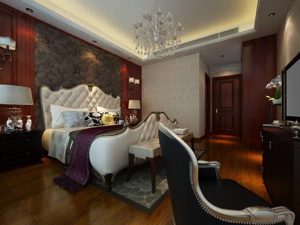 欧式主卧室装修风格,地面实木地板。