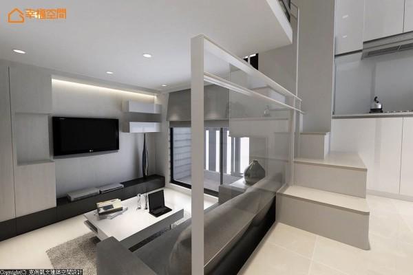 自沙发侧边的阶梯而上,复层格局的立体空间感,逐一浮现凸显。 (此为3D合成示意图)