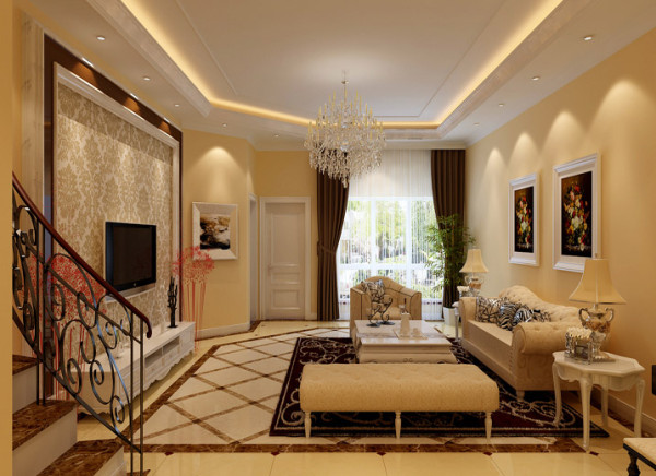 客厅设计理念:客厅主要以白色为主色调加衬了咖色边框装饰中间贴上淡花的壁纸组合了融洽的电视墙。