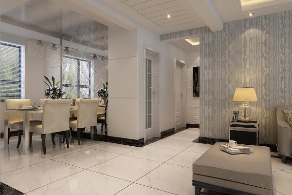 本案餐厅区域吊顶设计,设计师采用了与客厅沙发电视背景墙相同的灰色条纹壁纸进行装饰。餐厅背景墙中,则采用了菱形银色背光镜进行修饰。
