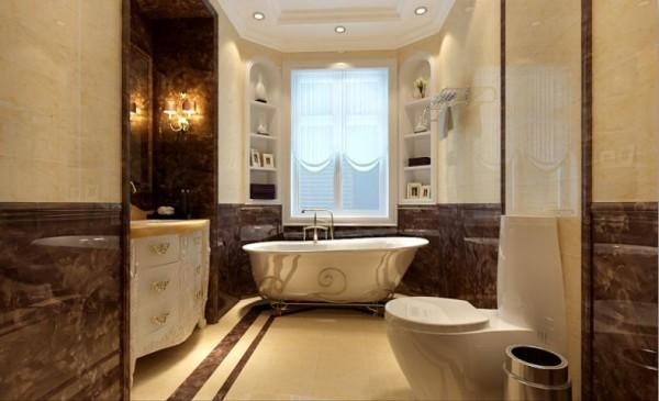 欧式卫生间也雍容华贵给人以富丽堂皇、雍容华贵的感觉,卫生间也不例外。虽然这个卫生间本身并不大,但是华丽的灯具、镜子、小饰品、再加上石材和拼花,整个卫生间自然而然就流露出一种西洋的调子。