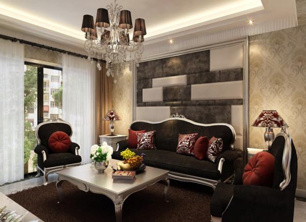 沙发背景的主笔以衬托电视电视背景为主,相呼应的软包和线条,再加上整体墙面欧式艺术壁纸,整体的欧式家具,颜色对比,干练不累赘大气稳重