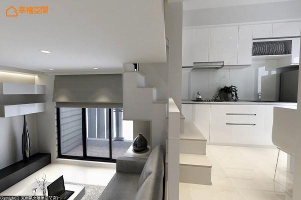 以白色砖面游走全室,在行进之间感受一脉延续的空间氛围。 (此为3D合成示意图)