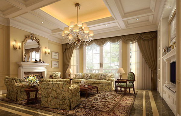 带有西方复古的欧式花纹图案的地毯,布艺家具,线条简单的吊顶,与大的氛围和基调相和谐。