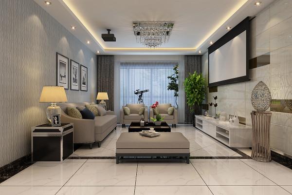 超大的影视投影,更是给客厅休闲区域增加了影视感。这样的空间,两人相拥而语、细赏一经典电影;亦不是一番浪漫扬溢。