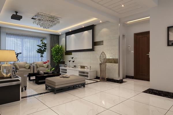 本案设计师电视背景墙选用铺贴灰色年轮暗花的石材进行装饰。高纯度的黑色块错落镶嵌其中,突出了整个电视背景墙的视觉层次感。