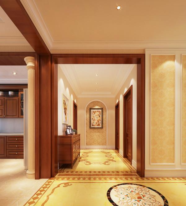 亮点:米色搭配金色花纹壁纸,点缀电视背景与沙发背景,罗马柱的加入,融入浓浓古典风格。