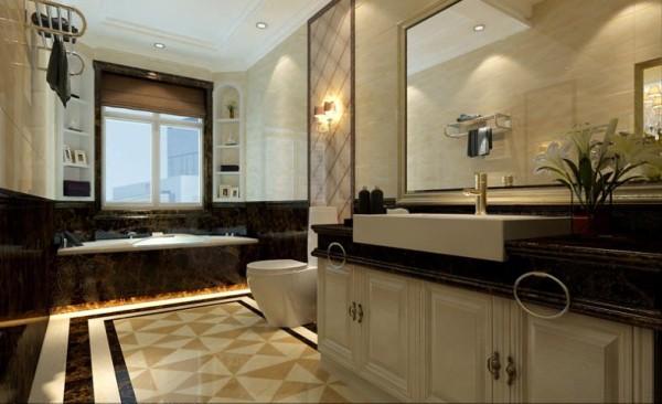 【武汉实创装饰】纳帕溪谷奢华欧式别墅设计/高贵典雅-一层卫生间设计