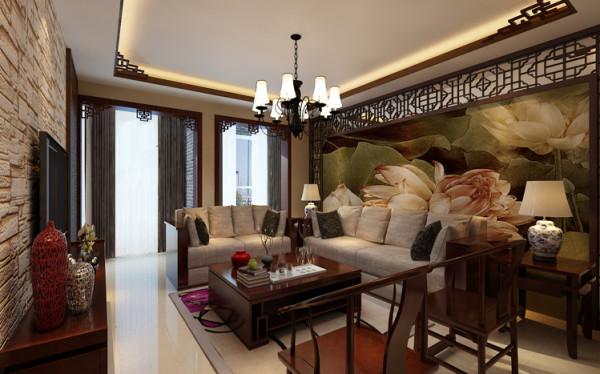 设计理念:沙发背景墙则与电视背景墙形成对比,在细节上保留雕花、对称等中式元素,且与现代元素的壁画相结合,更加能体现出中式古韵的风情。
