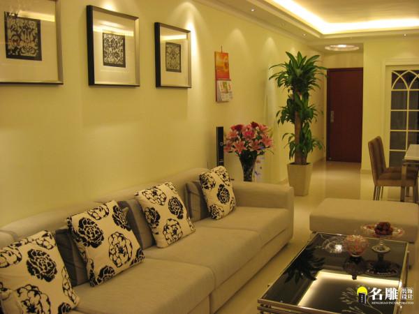 名雕装饰设计花半里欣悦花园简约二居室客厅沙发