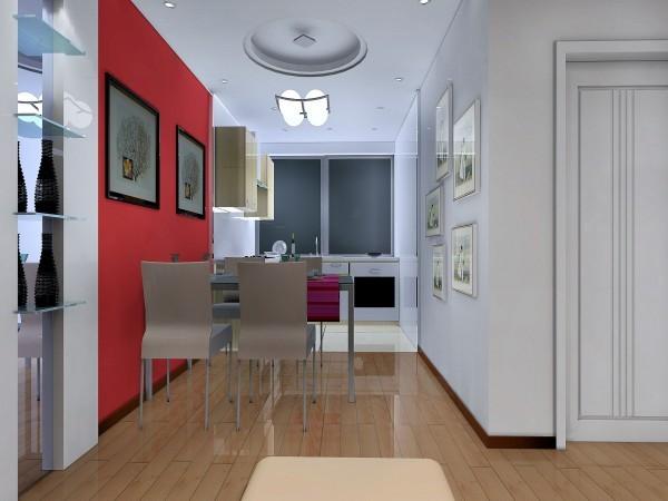 完全现代的开放式厨房使得整体空间都时尚现代,餐厅的整体墙面用大红色装饰,也让空间更加灵动活跃。