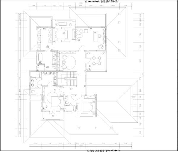 君山别墅二层平面布置图展示