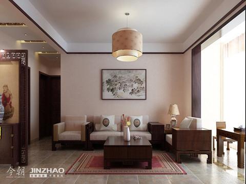 沙发背景墙:新中式风格的客厅,充满古香古色的现代气息,把现代与古代的设计相结合。