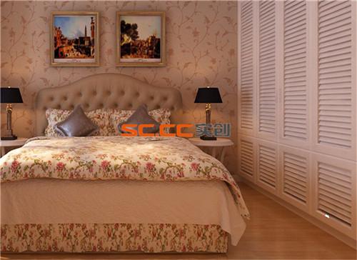 现代浅色纹理壁纸配以壁画营造出温馨的画面。