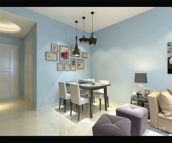 餐厅的灯光很重要既不能太强又不能太弱,灯光则以温馨和暖的黄色为基调。墙面贴了局部挂画,突出了本次设计的简洁大方。