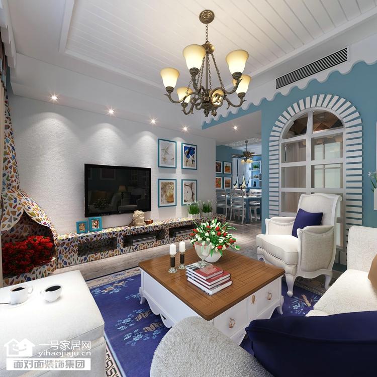 一号家居 地中海 客厅图片来自武汉一号家居在蓝晶绿洲 唯美地中海之