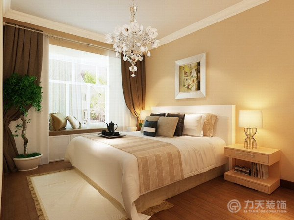 卧室部分,用了木地板,搭配浅黄色系的壁纸,采光充裕,家具布置与空间密切配合,主张废弃多余的、繁琐的附加装饰,在色彩上和造型上追随流行时尚。奶咖色的乳胶漆搭配紫色系的沙发别有韵味。