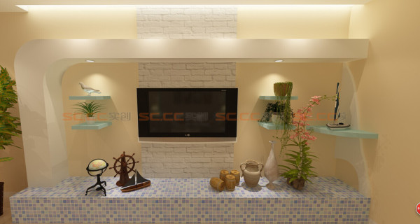 电视背景墙,四个小墙板可以放点平时自己喜欢的小收藏品,不错吧^