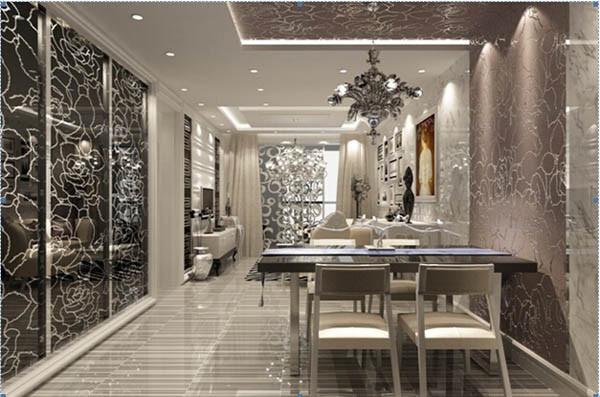 餐厅墙面茶镜暗花显现空间高端大气,同时与地面砖颜色相呼应,可谓是低调的华丽。左侧的镜子装饰完美诠释了何谓简约不简单,也给人以空间扩充之感。