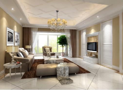 本案的设计风格为简约欧式,营造自然,典雅,高贵的气质。室内多采用壁纸,地毯,窗帘,玻璃等装饰画体现简约华丽的风格。