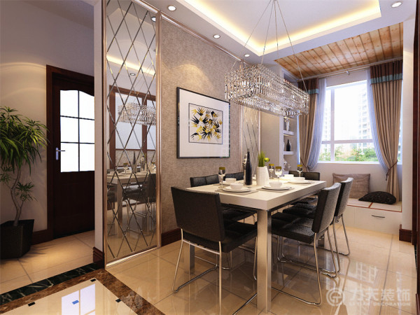 餐厅造型为两边车边境,中间也是同样搭配深色素色壁纸,既与客厅色调统一,又显得餐厅区域宽敞明亮