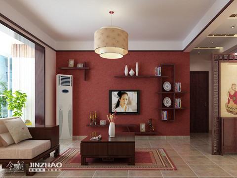 电视墙:红色的墙纸喜庆大气。墙面装饰的设计使得电视墙雅致大方。