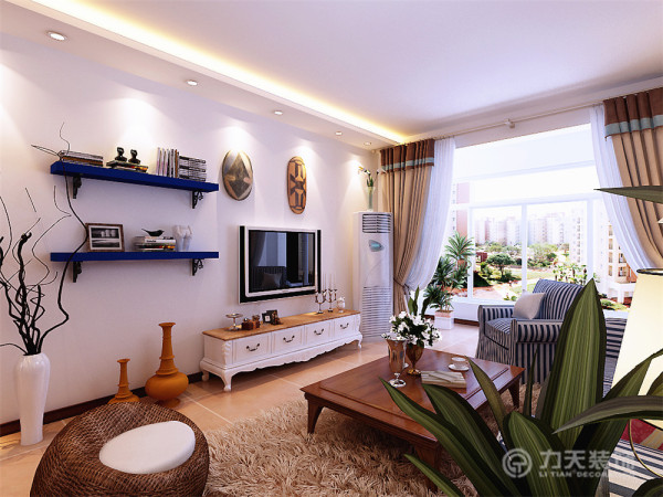 电视背景墙以简单的蓝色隔板造型为主,搭配标志性的地中海装饰品,简单的诠释了地中海风格的特点