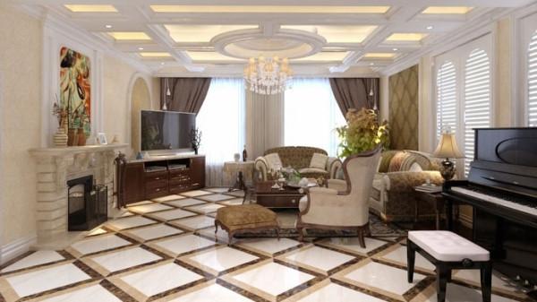 室内有真正的壁炉或 假 的壁炉造型。墙面用高档壁纸,或白色木制墙裙或优质乳胶漆,以烘托豪华效果。