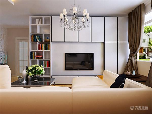 电视背景运用了具有现代风格兼具强大的储物功能的整体柜来装饰,看起来充实又不混乱。